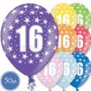 """Шары на день рождения, с цифрами - ЮБИЛЕЙ 16 ЛЕТ - Металлик, 12""""/30см, 50 шт., ассортимент цветов"""