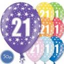 """Шары на день рождения, с цифрами - ЮБИЛЕЙ 21 ГОД - Металлик, 12""""/30см, 50 шт., ассортимент цветов"""