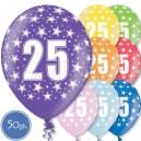 """Шары на день рождения, с цифрами - ЮБИЛЕЙ 25 ЛЕТ - Металлик, 12""""/30см, 50 шт., ассортимент цветов"""