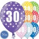 """Шары на день рождения, с цифрами - ЮБИЛЕЙ 30 ЛЕТ - Металлик, 12""""/30см, 50 шт., ассортимент цветов"""