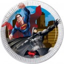 8 Papīra šķīvji 20cm metallic BATMAN VS SUPERMAN