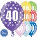 """Шары на день рождения, с цифрами - ЮБИЛЕЙ 40 ЛЕТ - Металлик, 12""""/30см, 50 шт., ассортимент цветов"""
