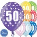 """Шары на день рождения, с цифрами - ЮБИЛЕЙ 50 ЛЕТ - Металлик, 12""""/30см, 50 шт., ассортимент цветов"""