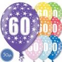 """Шары на день рождения, с цифрами - ЮБИЛЕЙ 60 ЛЕТ - Металлик, 12""""/30см, 50 шт., ассортимент цветов"""