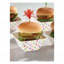 Papīra mini trauciņi servēšanai/uzkodām, ar krāsainiem punktiņiem, 24 gab. 8,8 x 8,8 x 4,9cm