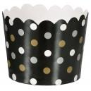 Papīra mini trauciņi servēšanai/uzkodām, melni ar punktiņiem, 36 gab. 6.1 x 6.1 x 4,4 cm