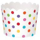 Papīra mini trauciņi servēšanai/uzkodām, balti ar krāsainiem punktiņiem, 36 gab. 6.1 x 6.1 x 4,4 cm