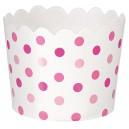 Papīra mini trauciņi servēšanai/uzkodām, rozā ar ziliem punktiņiem, 36 gab. 6.1 x 6.1 x 4,4 cm