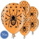 """Шары с рисунком на Хэллоуин - ПАУКИ - Пастель, 12""""/30см, 50 шт., оранжевые"""