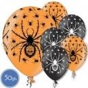 """Шары с рисунком на Хэллоуин - ПАУКИ - Пастель, 12""""/30см, 50 шт., ассортимент цветов"""
