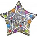 "18""/45cm шар из фольги с голографическим блеском - Birthday STARS Prismatic, S55"