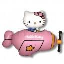 """Balons folijas - HELLO KITTY LIDMASINA, roza - piepusams ar heliju, leila figure, izmers  30""""/77cm.h x 36""""/92cm.w"""