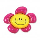"""Balons folijas - PUĶE AR SMAIDIŅU, rozā krāsā - piepūšams ar hēliju, leilā figūre, izmērs 35""""/88cm.h x 41""""/104cm.w"""