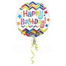 Folijas balons Chevron Star Happy Birthday folijas balons S40 iepakots 43 cm