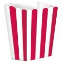 Papīra trauciņi popkornam, sarkani, 5 gab., 9.5 x 13.5 cm