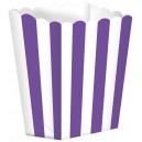 Papīra trauciņi popkornam, violeti, 5 gab., 9.5 x 13.5 cm
