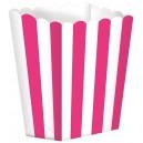 Papīra trauciņi popkornam, koši rozā, 5 gab., 9.5 x 13.5 cm