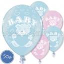 """Шары с рисунком для самых маленьких  - МАЛЫШИ - Металлик, 12""""/30см, 50 шт., голубой и светло-розовый"""