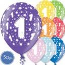 """Шары на день рождения, с цифрами - ЕДИНИЦА - Металлик, 12""""/30см, 50 шт., ассортимент цветов"""