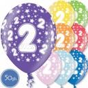"""Шары на день рождения, с цифрами - ДВОЙКА - Металлик, 12""""/30см, 50 шт., ассортимент цветов"""