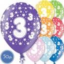"""Шары на день рождения, с цифрами - ТРОЙКА - Металлик, 12""""/30см, 50 шт., ассортимент цветов"""