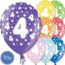 """Шары на день рождения, с цифрами - ЧЕТВЁРКА - Металлик, 12""""/30см, 50 шт., ассортимент цветов"""