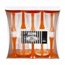 Plastmasas vīna vai šampanieša glāzes ar oranžu kājiņu, 10. gab.