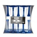 Plastmasas vīna vai šampanieša glāzes ar tumši zilu kājiņu, 10. gab.