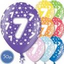 """Шары на день рождения, с цифрами - СЕМЁРКА - Металлик, 12""""/30см, 50 шт., ассортимент цветов"""