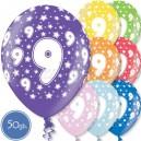 """Шары на день рождения, с цифрами - ДЕВЯТКА - Металлик, 12""""/30см, 50 шт., ассортимент цветов"""