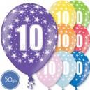 """Шары на день рождения, с цифрами - ДЕСЯТКА - Металлик, 12""""/30см, 50 шт., ассортимент цветов"""